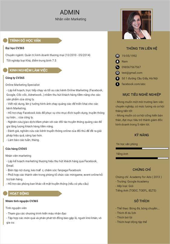 CV nhóm ngành