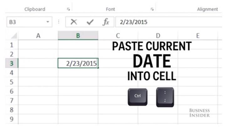các phím tắt trong Excel