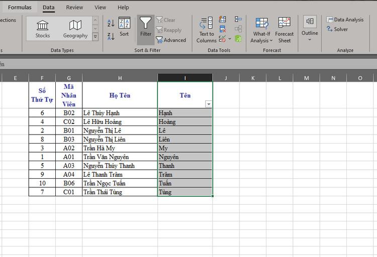 Cách sắp xếp tên theo abc trong excel 2010 5