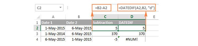 Làm thế nào để trừ ngày trong Excel
