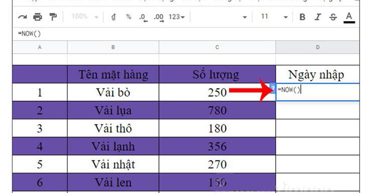 Chèn ngày, thời gian vào Google Sheets bằng hàm NOW