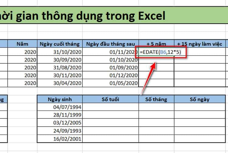 Tính cộng ngày, tháng, năm trong Excel