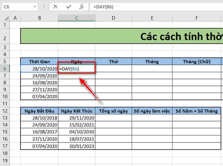 Tính thứ, ngày, tháng, năm trong Excel